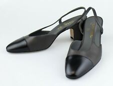 New CHANEL Brown Leather Slingback Pumps Shoes Size 7 US 38 EU
