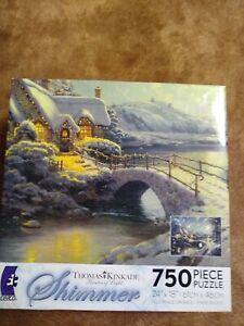 Thomas Kinkade Christmas Moonlight SHIMMER 750 PCS Jigsaw Puzzle Complete