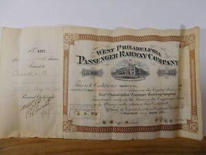 Stock Certificate West Philadelphia Passenger Railway Company 1928