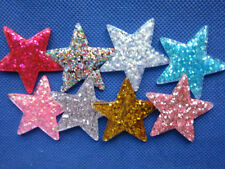 24 Resin Glitter Star 40mm Appliques/trims -8 Colors B215
