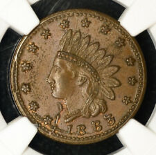 1863 Civil War Token Indian Head/Flags Cannons & Drum Ms64 Bn Ngc F#82/351a R2