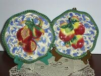 Fitz & Floyd Classics, Set Of 2 Florentine Fruit Plates, Pomegranate And Apples