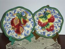 Fitz & Floyd Classics, Set Of 2 Florentine Fruit Plates, Pomegranate And Apples