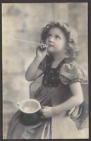 Young Grete Reinwald  antique tinted real photo postcard 1910