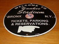 "VINTAGE 1955 NEW YORK YANKEES STADIUM BASEBALL 12"" PORCELAIN METAL GAS OIL SIGN!"