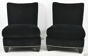 Pair of Baker Club Chairs Black Velvet with Chrome Nailhead Trim