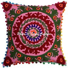 Pink Suzani Cushion Cover Indian Home Decorative Embroidered Pillow Case Cover