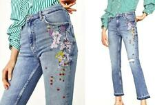 $70 ZARA -2017 SOLDOUT HIGH RISE EMBROIDERED JEANS N SIZE 34EU - 2 US