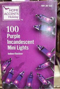 Home Accents 100 Count Purple Mini Lights Black Wire Indoor/Outdoor