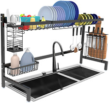 Over The Sink Dish Drying Rack Large Kitchen Drainer Drying Shelf Durable Steel