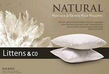 Pair Of Luxury Goose Feather Pillows with 85% Feather 15% Down 100% Cotton Cover