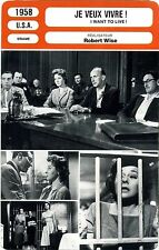 Fiche Cinéma. Movie Card. Je veux vivre ! / I want to live ! (USA) 1958