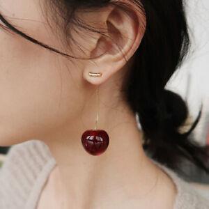 Women Sweet Red Cherry Fruit Simulation Earrings Ear Drop Stud Fashion Jewelry