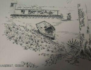 "SIGNED HERB WOO ""Thunderbolt Georgia"" SHRIMP SHACK DOCK WATER EDGE Pencil Sketch"
