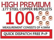 BB Pellets Premium Steel 4.5mm .177 Copper Air Metal Pellet Round Quantity 100