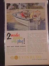 OLD~EVINRUDE FISHING BOAT OUTBOARD MOTOR ART PRINT AD~ VINTAGE ANTIQUE ORIG 1959