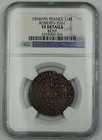 1594(99) France 1/4 Ecu Silver Coin Roberts-3261 NGC VF Details Bent AKR