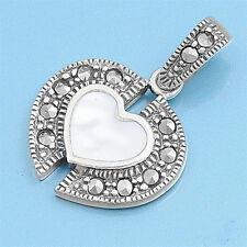 Heart with Marcasite Pendant Sterling Silver 925 Vintage Jewelry Mother of Pearl