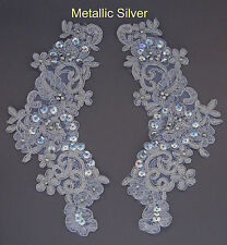2 X Embroidered Venise Lace Sequins & bead Applique Motif Col:Metallic Silver #3