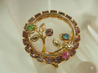Beautiful Vintage 1970's Colorful Rhinestone Flower Gold Tone Brooch  240JL
