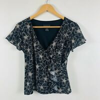Crossroads Womens Wrap Top Size 8 Floral Back White Short Sleeve Good Condition