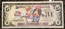 5 Disney Dollars Daisy Duck Minnie MINT Banknote Magic Kingdom