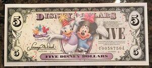 5 Disney Dollars Daisy Duck Minnie MINT Banknote Magic Kingdom