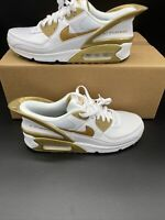 Nike Air Max 90 FlyEase White Metallic Gold Shoes CU0814-100 Men's Size 10.5
