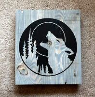 Wall Plaque Sign Handmade Reclaimed Pallet Wolf Theme Driftwood  Hand Painted