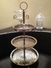 Handmade Moroccan 3 Tiers Silver Plated Brass Mediterranean Cookies Tea Tray Fez