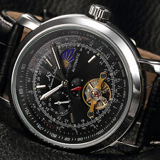 KS Classic Mens Automatic Mechanical Black Skeleton Leather Sport Wrist Watch