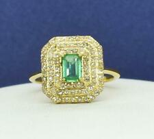 $2,499 SOLID 10k Yellow Gold Genuine 1.55ctw Colombian Emerald & Diamond  Ring