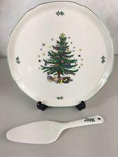 """Nikko Japan Happy Holidays Cake Plate with Server 11"""" Christmas Tree"""