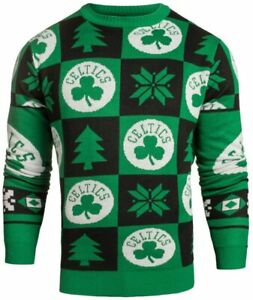 Klew Boston Celtics NBA 2016 Men's Patches Holiday Ugly Sweater, Green