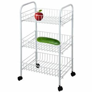 3 Tier Kitchen Trolley Wheel Cart Vegetable Rack Fruit Basket Storage Unit White