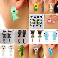 1Pair Cute Soft Pottery Animal Stud Earrings Handmade Polymer Earrings JewelryJJ