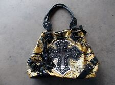 Golden colored decorated imitation snake skin large size Goth fashion purse used