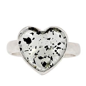 Heart - Hematite In Quartz 925 Silver Pendant Jewelry Ring s.7.5 ALLR-666