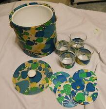 New Listingvintage Mushroom Hippie 1960's Ice Bucket Glasses and coasters,retro