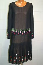 Vintage 1920s S Black Silk Beaded 1930s Dress Roaring 20s 30s Damaged Gatsby