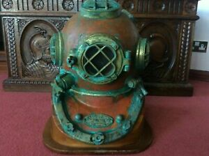 Rare Antique Diving Helmet US Navy Mark V Marine Deep Sea Divers Helmet W/ Base