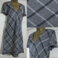 NEW Next Shift Tunic Dress Linen Blend Summer Broderie Checked Grey Black 6-26
