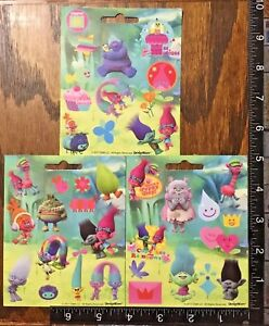 TROLLS BY DREAM WORKS, 3 LITTLE SHEETS BEAUTIFUL STICKERS #TROLLS