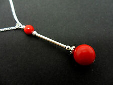 A LOVELY RED CORAL BEAD  PENDANT NECKLACE.  NEW.