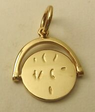"""SOLID  9K 9ct Yellow Gold SPINNING """" I LOVE YOU"""" VALENTINE MESSAGE CHARM/PENDANT"""