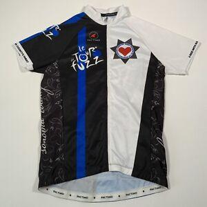 Pactimo Le Tour De Fuzz Black & White Long Sleeve Cycling Jersey - Mens Large
