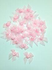 Pink Rose Flower Head Satin Organza Ribbon Sewing Craft Trim Gift Box Decorated