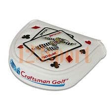 White Magnetic Golf Mallet Putter Cover Headcover For Center Shaft Odyssey 2Ball