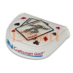 New Magnetic Golf Mallet Putter Headcover for Center Shaft Odyssey 2 Ball White