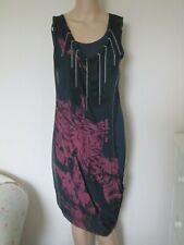 RELIGION BLACK RED DRESS SIZE L UK 10/12 T-SHIRT SILK CHAINS BOHO